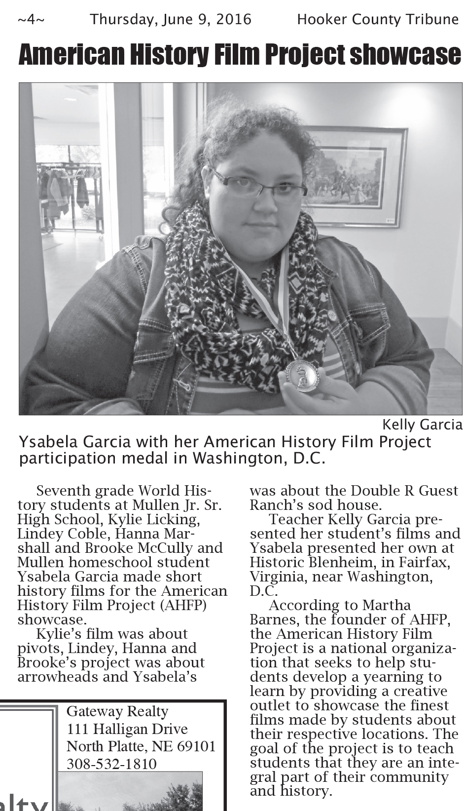 Ysabela Garcia and Her American History Film Project Participation Medal